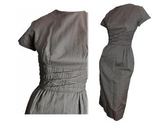 Vintage 50s Wiggle Dress Bombshell Short Sleeve Summer Sheath Dress Brown Cotton Helen Whiting