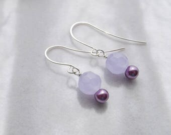 Purple Glass Drop Earrings, Violet Glass Pearl Beaded Earrings, Simple Handmade Earrings, Gift for Her, Spring Jewelry, Easter Jewelry