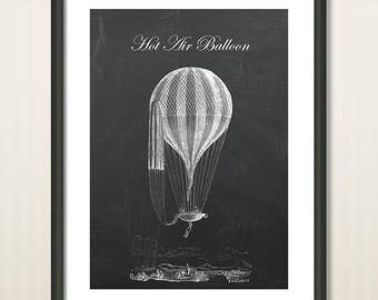 Old English Hot Air Balloon, Wall Decor, Balloon Poster Print, Nursery Decor, Hot Air Balloon Art, Vintage Poster