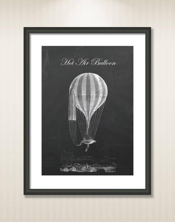Old English Hot Air Balloon Wall Decor Balloon Poster Print