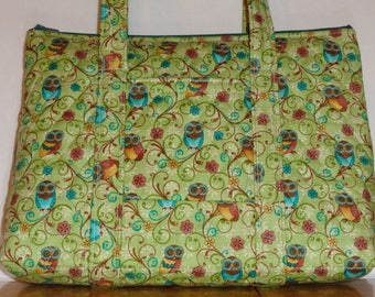 Owls Green Blue Gold Tan Flower Print Quilted Purse Quilted Handbag