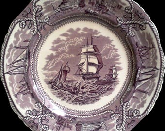 Mason's American Marine Purple ~ HUGE 15 INCH Round Platter, Transferware, Cabinet Plate, Platter