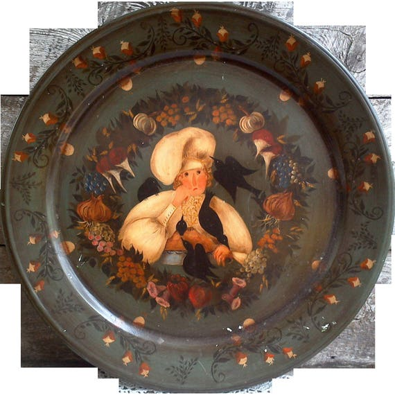 Hand Painted Metal Toleware Tray, Baker with Pie and Blackbirds, Signed