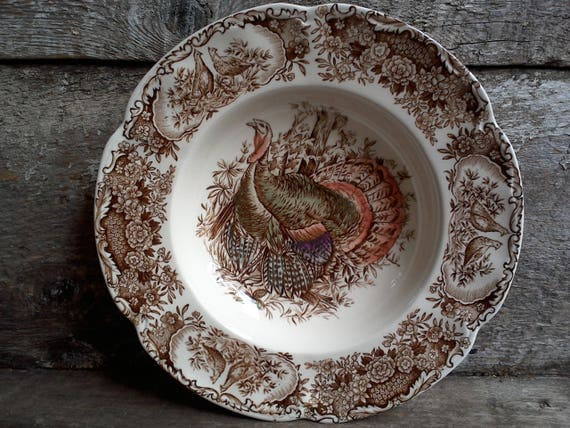Vintage Johnson Brothers Wild Turkey Soup Bowl, Holiday, Thanksgiving Soup Bowl