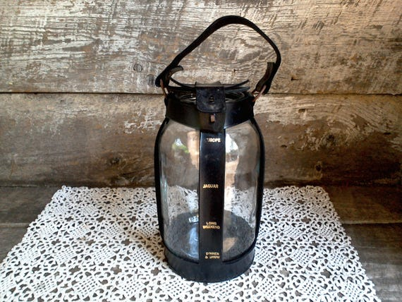 Vintage Glass Bank/Jar with Leather Covering Strap