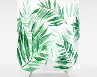 Palm Leaf Shower Curtain, tropical curtain, palm leaf curtain, leaf shower curtain, palm shower curtain, botanical curtain