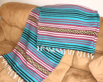 Hot Rod or Den Throw #B - Made from Mexican Blanket Fabric - Heavy rugged Den, Hot rods, parties, beach, wall hanging - Aqua Berry Black Tan