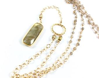 Labradorite Y Pendant Necklace / Y Necklace / Labradorite Pendant / Gold filled chain