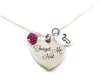 Forget Me Not Necklace - Initial Necklace - Personalized Necklace - Sterling Silver Jewelry - Gift for Her