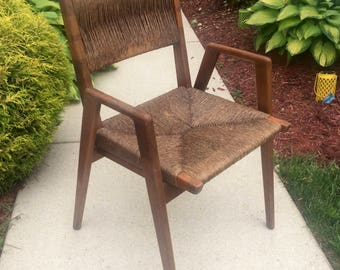 Rare Mel Smilow Woven Rush Seat Arm Chair 1950's