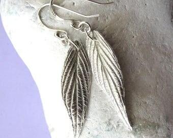 Fine silver dangly leaf earrings
