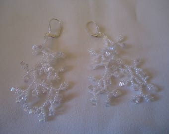 white coral cube earrings
