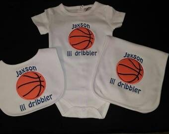 Basketball Gift Set Basketball Onesie Burp Cloth Bib Set