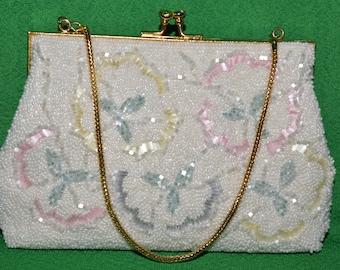 Vintage Beaded Handbag Purse Clutch Evening Wedding Handbag DU-VAL 1960s
