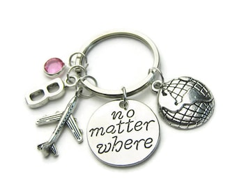 No Matter Where, Earth And Airplane Keychain, Travel Keychain, Traveler Keychain, Earth And Airplane Keychain, No Matter Where, Personalized