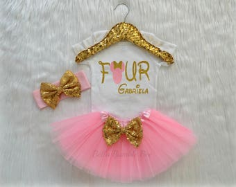 Baby Girl Disney Minnie Mouse, Pink and Gold with Custom Name, Fourth Birthday Tutu Headband Set, Short and Long Sleeve Bodysuit Tshirt 340