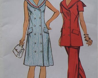UNCUT and FF Pattern Pieces Vintage Simplicity 5566 Sewing Pattern Size 18 Bust 40 Waist 32 Dress, Tunic and Pants