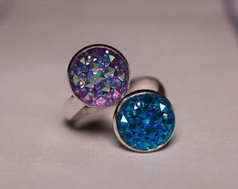 Purple and Blue Adjustable Ring