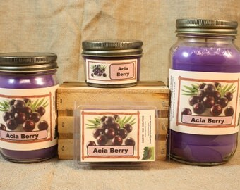 Acai Berry Scented Candle, Acai Berry Scented Wax Tarts, 26 oz, 12 oz, 4 oz Jar Candles or 3.5 Clam Shell Wax Melts