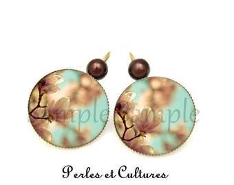 Sakura Flower Earrings - pastel blue brown white cabochon