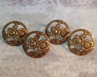 Set of 4 gold brass napkin rings holders rose floral pattern romantic cottage chic dining table settings entertaining home decor