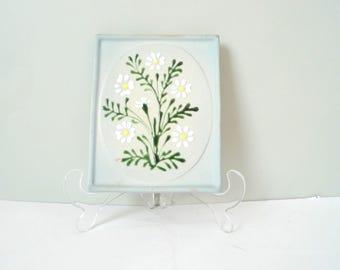 Vintage Swedish Ceramic wall plate - Gabriel Keramik Sweden Daisies Light pastel Blue