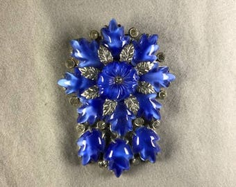 Molded Blue Glass Dress Clip