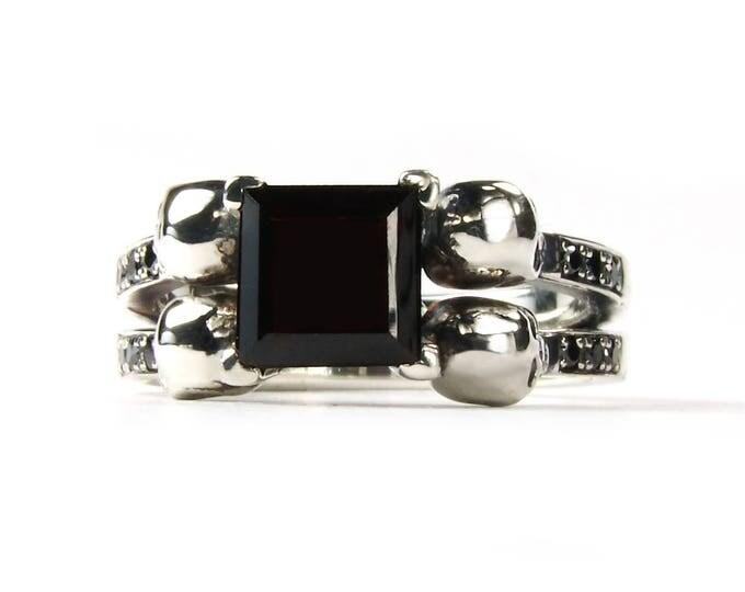 Skull Engagement Ring, Goth Promise READY TO SHIP Size 7.5 Skull Wedding Ring Black Diamond Black Spinel Onyx, Goth Engagement, Memento Mori