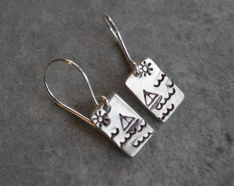 sailboat sterling silver dangle earrings