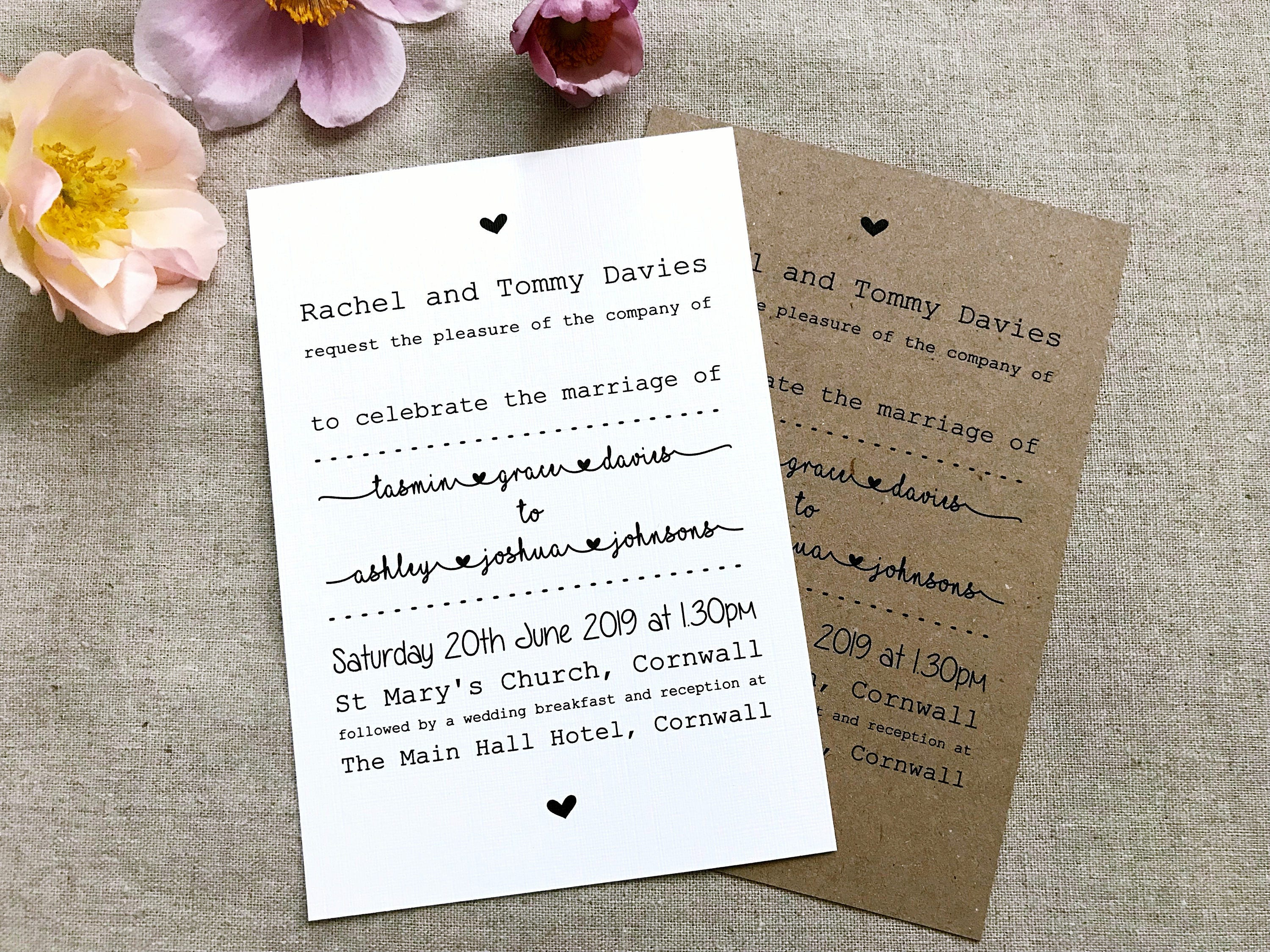 Wedding Evening Day Invitations Vintage/Shabby Chic Rustic Style ...