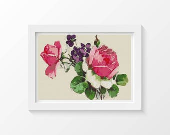 Rose Cross Stitch Chart, Pink Roses Cross Stitch Pattern PDF, Art Cross Stitch, Flowers Cross Stitch, Catherine Klein (KLEIN02)