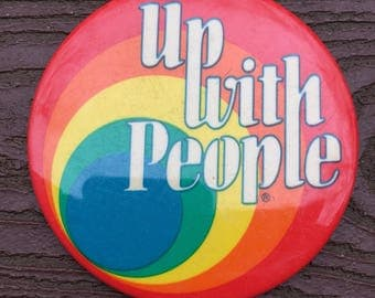 Vintage 60s 70s Rainbow Up With People Button Pin