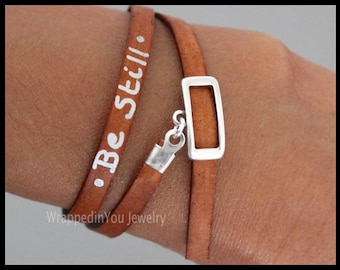 LEATHER Wrap Bracelet - Adjustable CUSTOM Silver Foil Hand Written Painted Message Quote Phrase Flat Real Natural Leather Tube Buckle Clasp