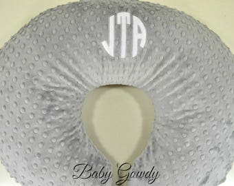 Personalized Minky Boppy Cover - Silver Minky Dimple Dot - Nursing Pillow Cover - Double Minky - Boppy Pillow Sham - Monogrammed Boppy Cover