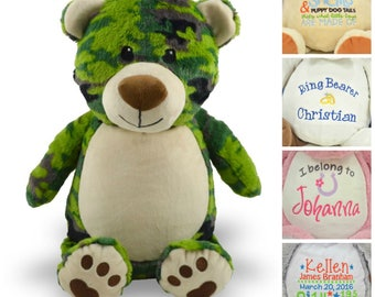 Personalized Camo Bear - Custom Stuffed Animal - Keepsake - Personalized Baby Gift - Birth Stats Stuffed Animal - Camouflage Teddy Bear