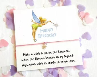Tinkerbell Birthday Card String Wish Bracelet Keepsake Y77