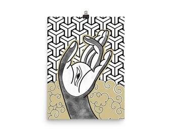 Buddhist Hand Matte Art Print Poster Wall Art Home Decor Tattoo Design