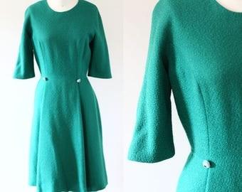 1960s Green wool Dress // wool dress // vintage dress