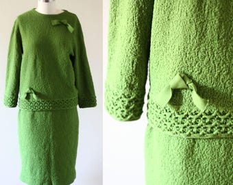 1960s sweater skirt set // 1960s knit dress // vintage sweater dress