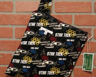 Cloth Diaper Wetbag, Star Trek, Diaper Pail Liner, Diaper Bag, Day Care Size, Holds 5 Diapers, Size Medium with Handle item #M96
