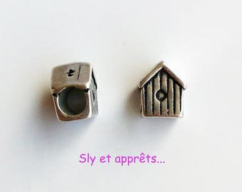 set of 2 passers metal beads in the shape of House 10x9mm