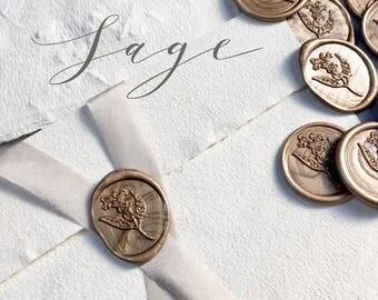 Sage Wax Seals, Self Adhesive Wax Seals, Invitation Wax Seals, Botanical Wax Seals, Wax Seals, Wax Seal, Envelope Seals, Herbal Wax Seals