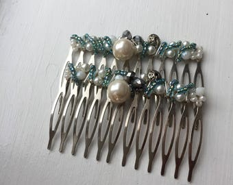 Green pearl beaded hair combs by ashley3535