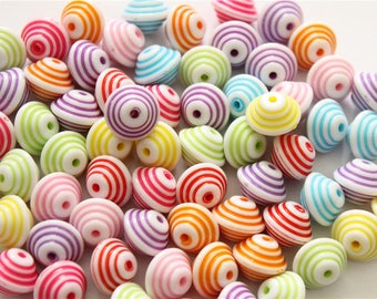 30 top stripe multicolored acrylic beads
