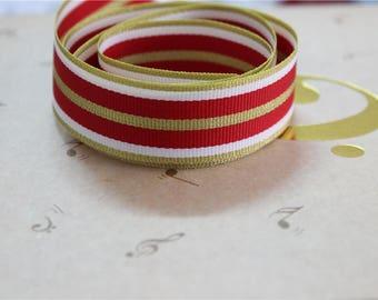 Red grosgrain Ribbon 3 meters Gold 2.3 cm