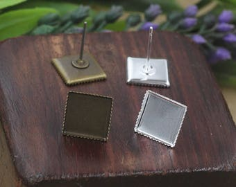 Bulk 100 pcs Stud Bezel Earring - Settings Brass base, tooth-like border
