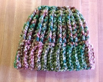 Super Soft Messy Bun/Pony Tail Beanie (Teen/Adult Size), Winter Hat, Green/Brown/White/Turquoise, Stretchy and Textured, Amazingly Warm!