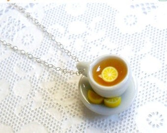 ON SALE Lemon Tea Cup and Saucer with Lemon Slices Necklace, Cute, Kawaii, Choice of Sterling Silver, Stainless Steel, or Silver Plated Chai