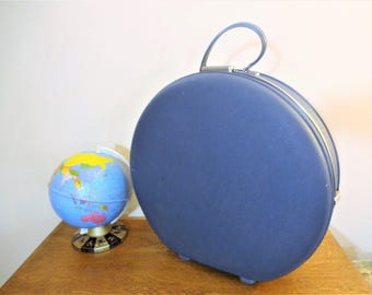 Mid Century Hat Box Suitcase - Navy American Tourister Round Hard Side Suitcase - Navy Blue - Wedding/Photo Prop - Hatbox Luggage