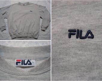 Vintage Retro Men's 90's Fila Sweatshirt Grey Crewneck Embroidered Logo Long Sleeve Oversized Large Made in Canada